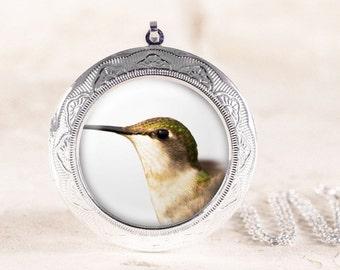 Hummingbird Locket - Silver Bird Locket, Green Hummingbird Jewelry, Hummingbird Photo Locket, Silver Bird Jewelry Locket, Bird Photo Jewelry
