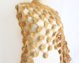 Handmade Crochet Milky Brown Shawl-Free Shipping