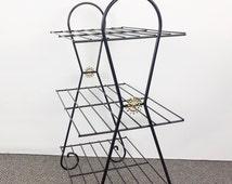 Mid century shelf black wire shelves vintage wire bookshelf