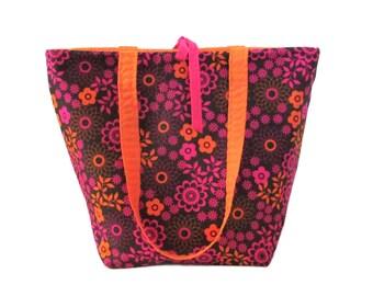 Floral Tote Bag, Brown Cloth Purse, Orange, Pink Flowers, Handmade Handbag, Fabric Bag, Shoulder Bag