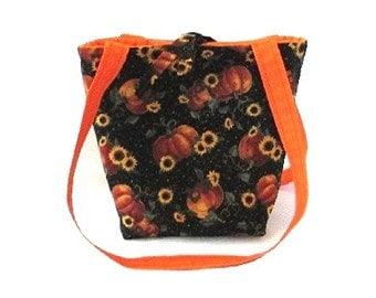 Purse, Thanksgiving, Pumpkin, Small Tote Bag, Fall Flowers, Black, Orange, Yellow, Fabric Bag, Handmade Handbag, Shoulder Bag