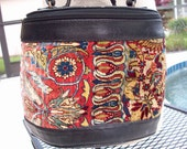 Black Crossbody carpet Purse with Handle by EM May