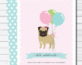Pink Girly Pug Dog Birthday Party Digital Invitation