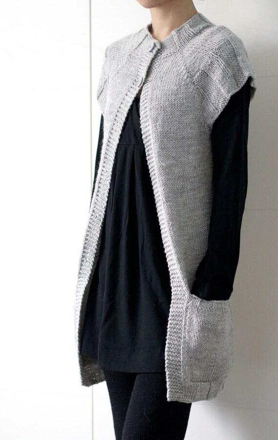 Sleeveless Cardigan Knitting Pattern : Knitting pattern PDF: Ethos vest sleeveless open front
