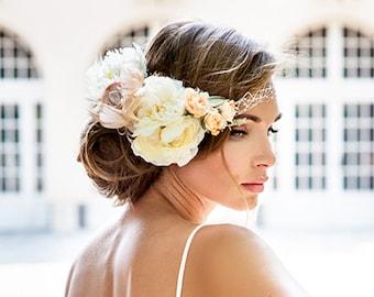 2016 bride hair jewelry collection. Bandeau style birdcage veil. Vintage style bridal veil.  Pink ivory flower veil.  Royal Wedding