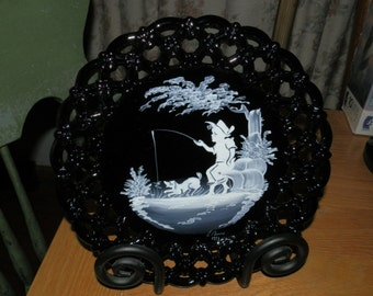 Westmoreland Mary Gregory Plate-Boy Fishing-Black Milk Glass