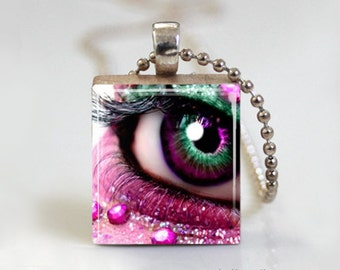 Pink Fantasy Eye Makeup - Scrabble Tile Pendant - Free Ball Chain Necklace or Key Ring