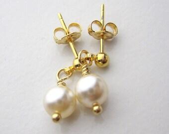Child Pearl dangle earrings, Stud dangle earrings, Flower girl Earrings, Wedding Jewelry Gift, Holiday Gift