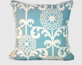 Light blue and white floral cushion pillow cover sham. 1 cover for 20x20 insert. Shabby Chic cottage beach decor sofa cushion throw pillow