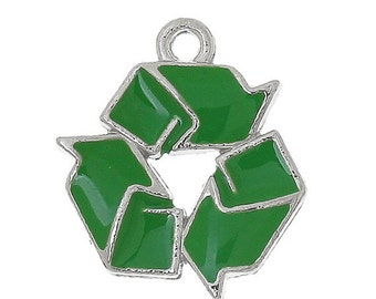 4 Enamel REDUCE REUSE RECYCLE Dark Green Charm Pendants . che0487