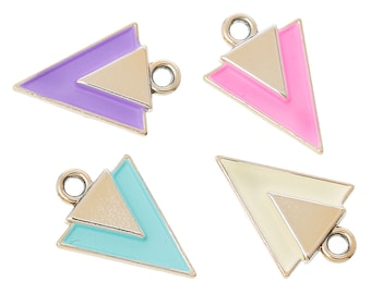 10 Enamel and Rose Gold Plated ARROWHEAD TRIANGLE Pendants Charms, mixed colors, chg0382