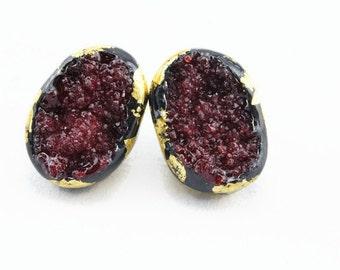 Ruby red druzy stud earrings large stud earrings dramatic