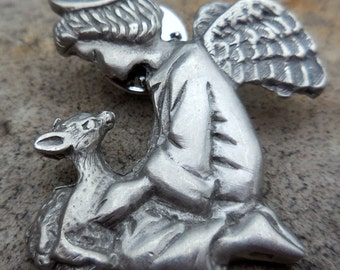 Vintage Lindsay Claire Pewter Angel and Fawn Pin