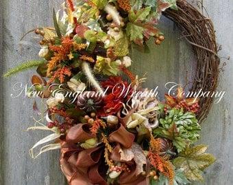 Fall Wreath, Autumn Wreaths, Thanksgiving Wreath, Harvest Wreath, Fall Woodland, Elegant Fall Wreath, Fall Floral Wreath, Designer Wreath