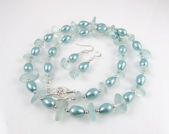 sea glass necklace and earrings set glass chips coke bottle glass teal pearls beach glass jewelry
