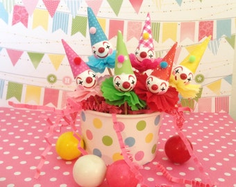 Bright, Cheery Clown Cupcake Toppers