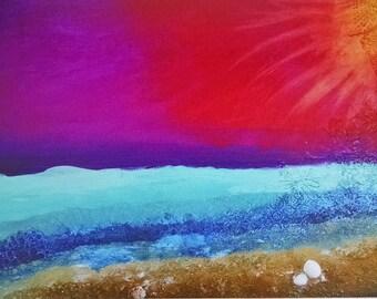 Sunset Canvas Print, Collage Art Print, Mixed Media Print, Print on Canvas, Beach Print, Colorful Beach Print, Ocean Art Print, Sunset Art