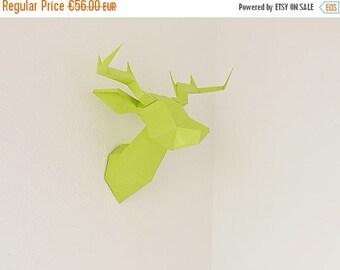 SOLDES/ON SALE Light Green Foldeer - Deer Head Papertoy