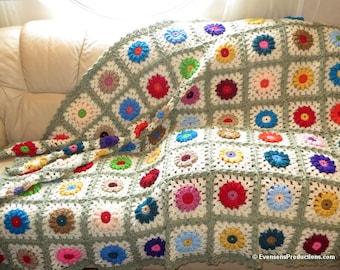 "Large Afghan Blanket - Flower Garden Design - Raised Crocheted Flowers - Couch Bed Dorm Room Blanket Size 72"" x 56"" - Item 4590"