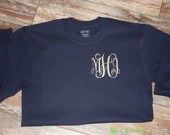 Long Sleeve Arrow and Monogram Tee - Pick Your Colors - Great Gift Idea