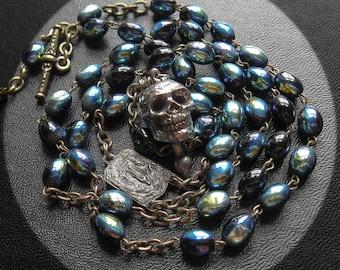 Momento Mori Vintage Skull Rosary Necklace.