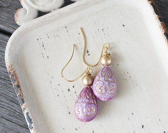 Czech Morrocan Teardrop Earrings, Mauve and Gold earrings, czech earrings, pink earrings, czech glass earrings, brass earrings