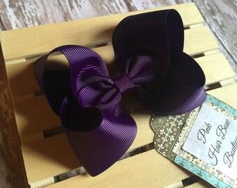 Dark purple hair bow - plum purple hair bow