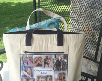 Photo Tote Bag - one Photo Collage Panel - two tone canvas bag... with 1 to 8  photos and special words -  First Class USPS Shipping 4.00
