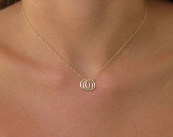 Triple Circle Charm Necklace - Gold Necklace - Silver Necklace - Eternity Necklace