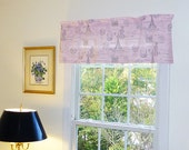 Grey Window Valance - Pink Window Curtains  - Grey Valances - Pink and Grey Window Valance 52 x 16
