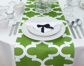 Green Table Runner - Green Wedding Linens - Green Coastal Living - Green Table Topper - Fynn Kelly Green Table Runner