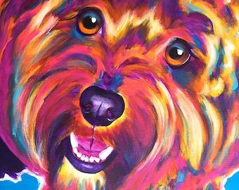 Cavapoo, Cavapoo Art, Pet Portrait, DawgArt, Dog Art, Pet Portrait Artist, Colorful Pet Portrait, Colorful Cavapoo, Pet Portrait Painting