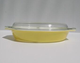 Pyrex Yellow Divided Casserole
