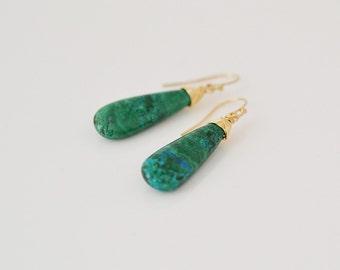 Chrysocolla Earrings, Dangle Earrings, Gold Fill Jewelry, Drop Earrings, Long Earrings, Gift For Her (0078N)