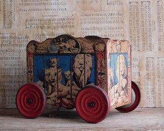 Vintage Toy Circus Wagon, Circus Lion Cage, Gong Bell Co.