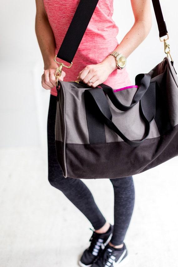 Gym weekender duffel bag in black grey magenta by Maltby