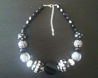 black and silver beaded statement necklace