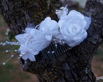 Bride Hair Comb, Metal Comb White Flowers
