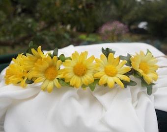 Sunflower Hair Crown, Bride Flower Hair Wreath, Fall Wedding
