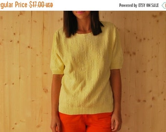 SALE Vintage 70's Yellow knit top Knitted Blouse T-shirt