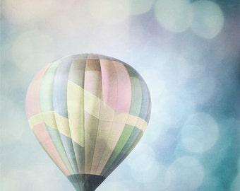 Hot Air Balloon Photography Print 11x14 Fine Art New Mexico Bokeh Dreamy Whimsical Sky Landscape Photography Print.