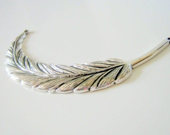 Antique Silver Large Feather Connector, 95x18mm, Jewelry Supplies