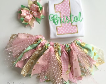 First Birthday Outfit for baby girls -- Mint, Gold and Blush Pink bodysuit, fabric tutu and bow -- birthday outfit, mint, gold, pink