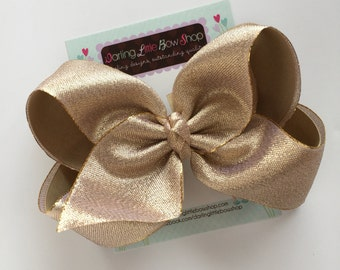 "Gold Bow -- Beautiful shimmering gold hair bow 6-7"" extra large bow - optional headband"