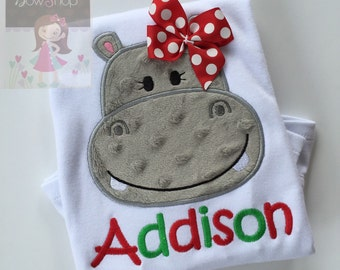 Christmas shirt or bodysuit for girls and baby girls - I Want a Hippopotamus for Christmas - red and green with soft gray hippo