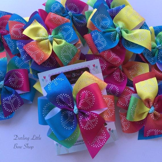 Rainbow Peace Sign Bow -- Large hair bow  -- Beautiful rainbow colors
