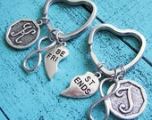 gift for best friend keychain, going away gift, long distance set, friendship gift, sister gift, heart keychain, infinity, moving away gift