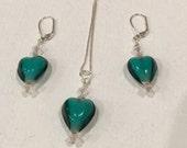 Green Venetian Glass Hearts Set