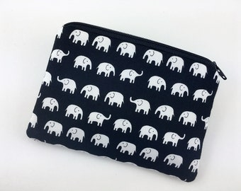 Elephant Coin Purse, Zipper Pouch, Card Pouch, Small Wallet, Padded Pouch, Change Purse, Gift idea, Black