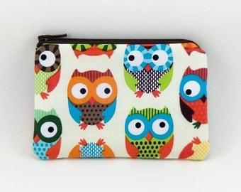 Owls Coin Purse, Small Pouch, Little Gadget Case, Padded, Card Pouch, Zipper Wallet, Gift idea